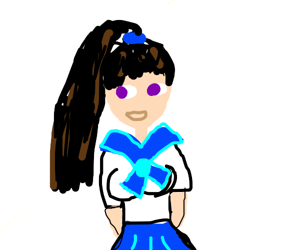 school girl with purple eyes