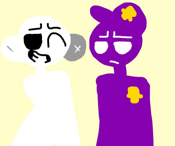 Man meets Purple Guy