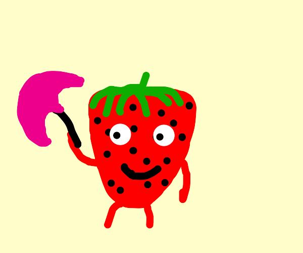 strawberry holdin a little umbrella