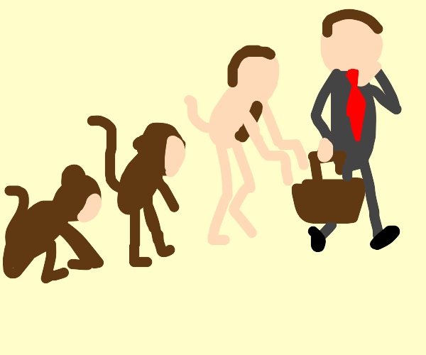 Evolution of monkey to business man