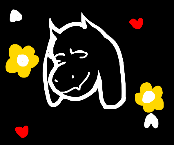 Toriel (UNDERTALE) with Flowers and Hearts