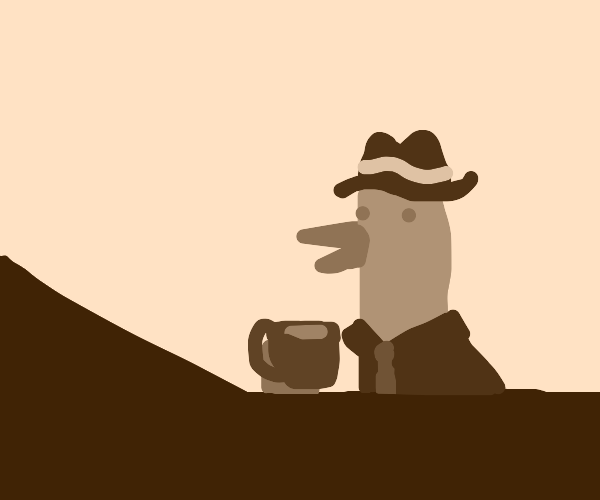officeduck drinking coffe