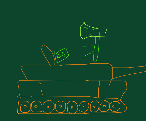 axe guy puts C-4 inside tank