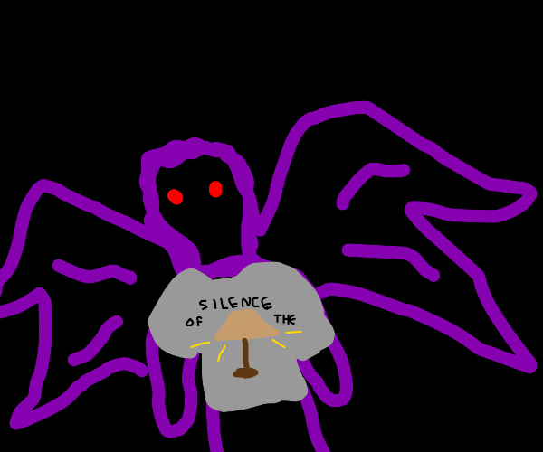 """Moth man w/ """"silence of the lamps"""" T-shirt"""
