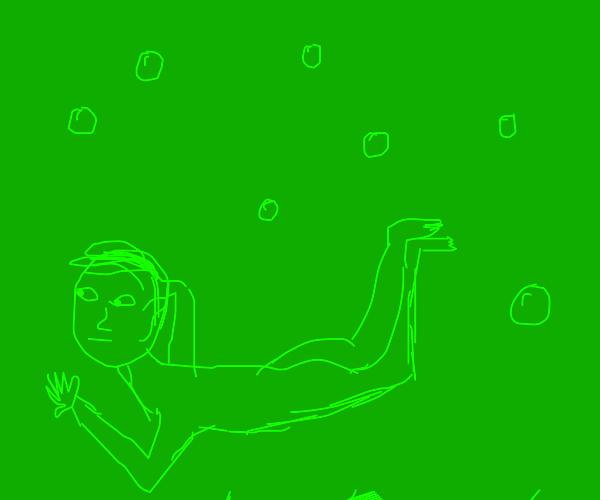 dude swiming in slime
