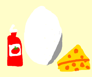 Cheese and ketchup egg