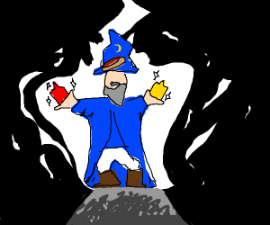 wizard with magical mustard and ketchup