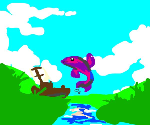 Purple fish in river