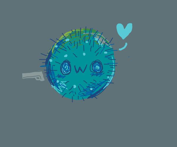 Coronavirus with owo face, holding gun