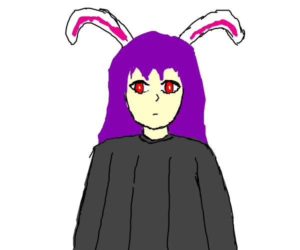 Anime bunny girl with purple hair