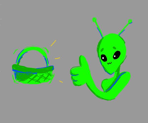 Alien Green Thumbs a Green Basket