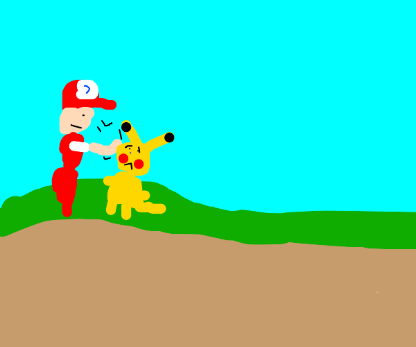 Trainer being unkind to his Pokemon