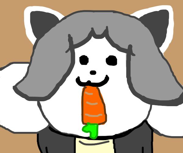 Temmy eats a carrot