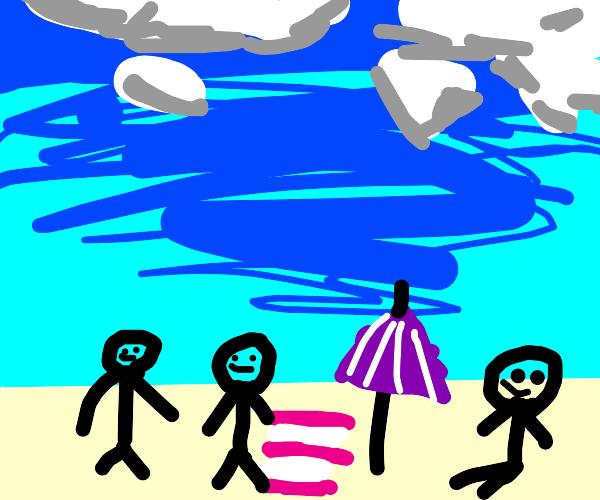 3 peeps having fun at the beach