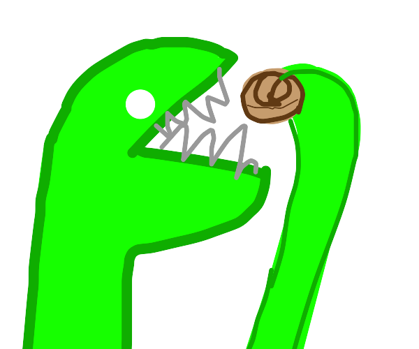 lizard person eating pastry