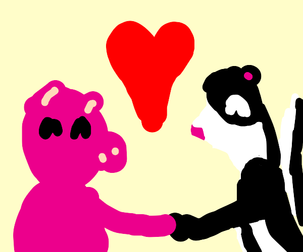 A pig and a skunk share a deep romantic love