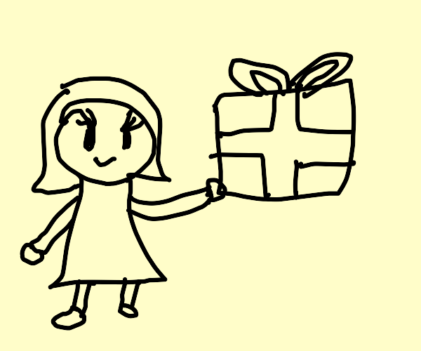 Pretty girl offers you a present