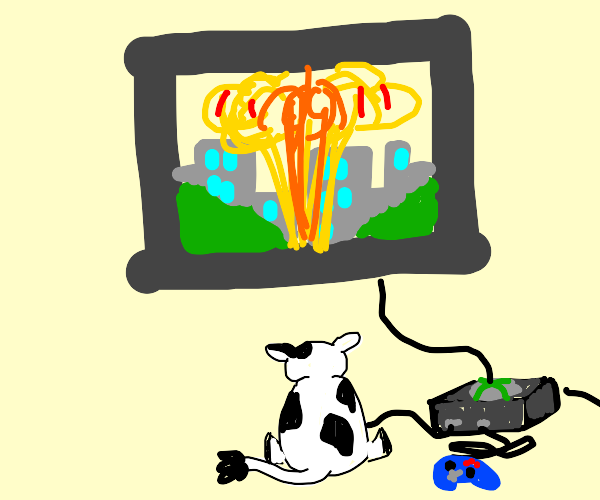 Cow plays a video game with explosions.