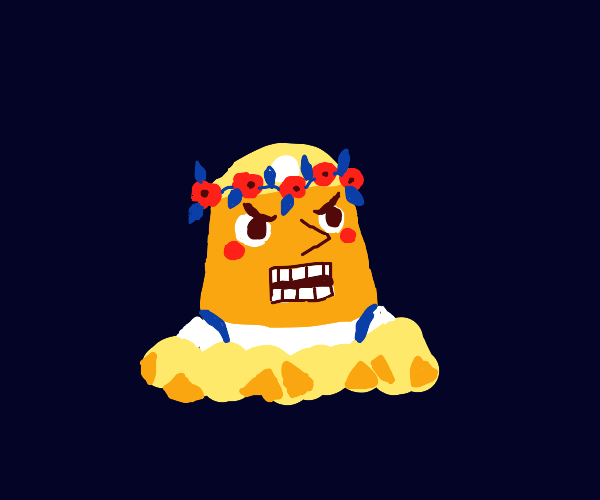 Slightly blushing Resetti with a flower crown
