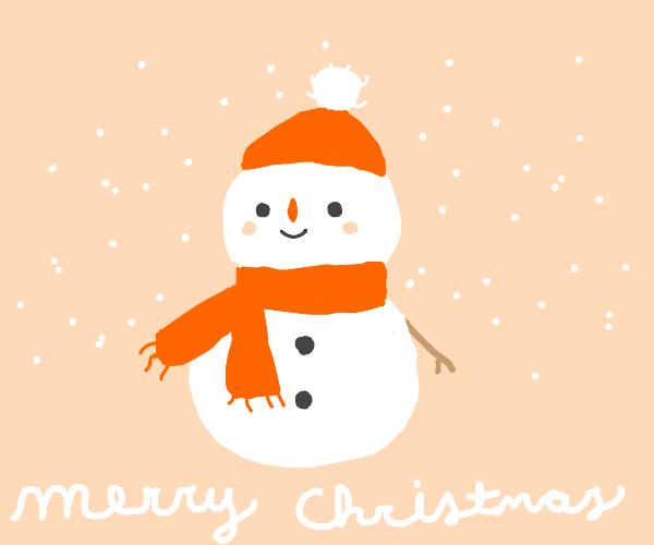 "Happy snowman saying, ""Merry Christmas!"""