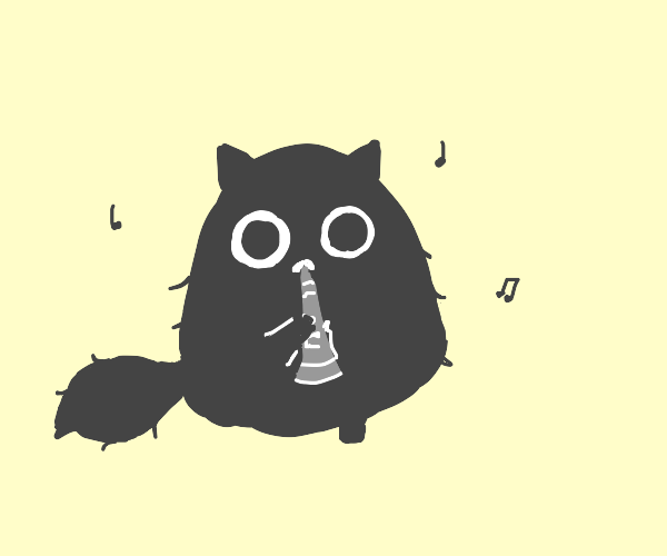 cat playing the clarinet