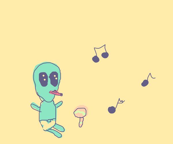 Alien child plays a kazoo