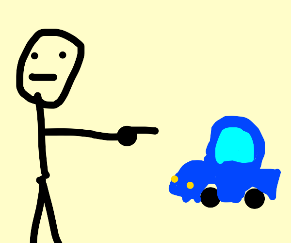Someone pointing at a small blue car
