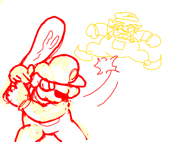 Mario beating wario with club