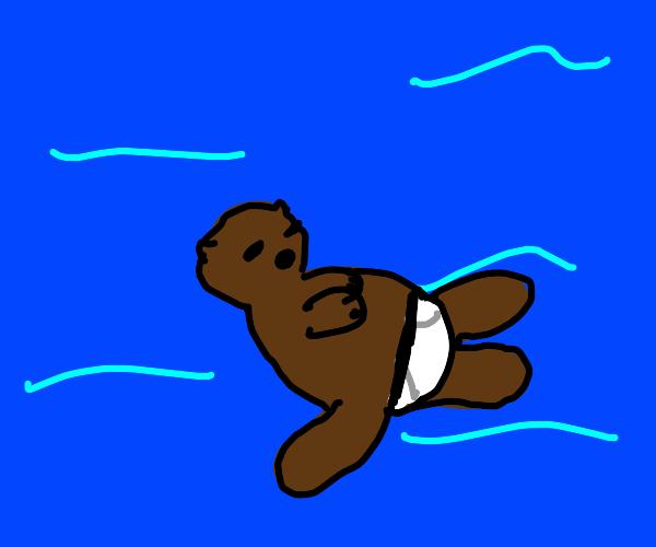 male otter in white underwear