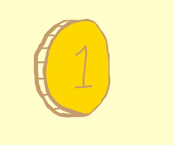"A golden ""1"" coin"