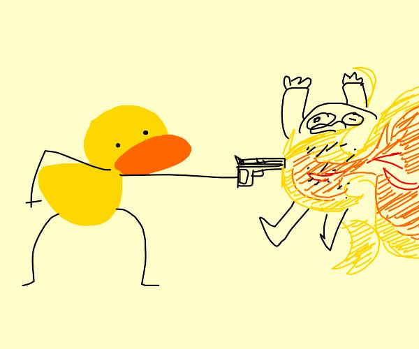 duck really have a fire gun..