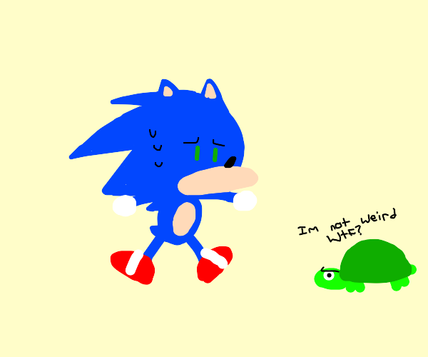 Sonic is scared of weird turtle