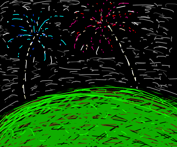 fireworks over a field