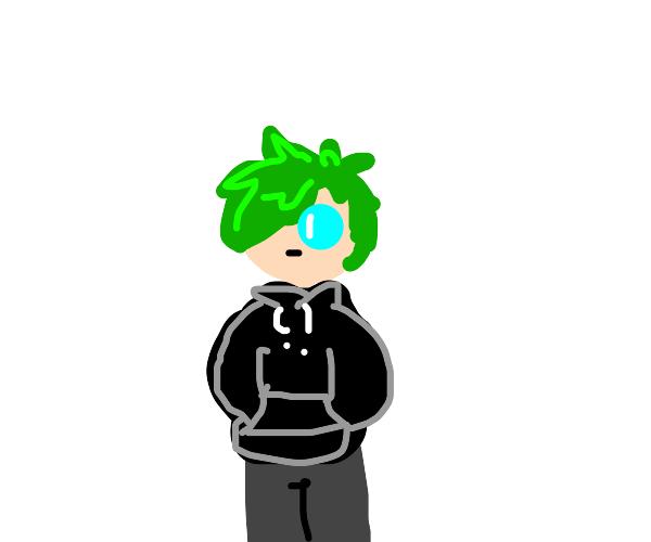 green hair w/ blue eyes guy in black hoodie