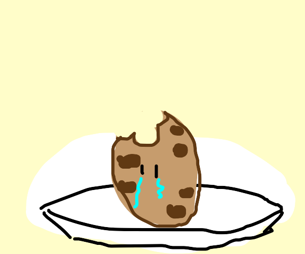 cookie sad about being eaten