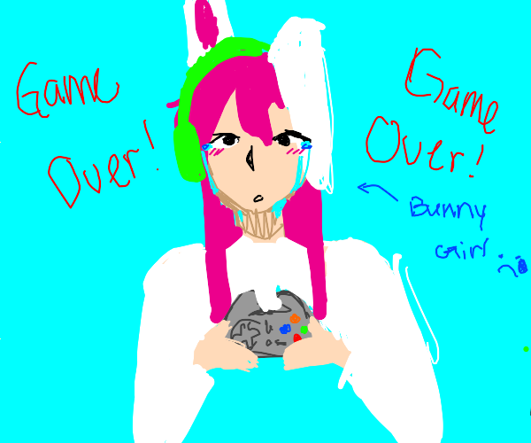 Sad gamer rabbit