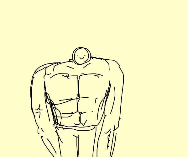 Buff man with a stupid face.