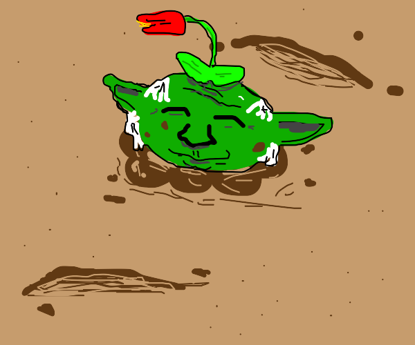 Yoda buried in dirt with a rose on his head