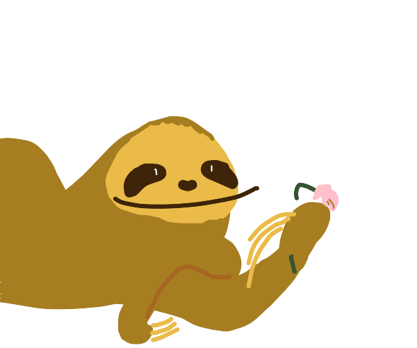 A sloth gives you a flower