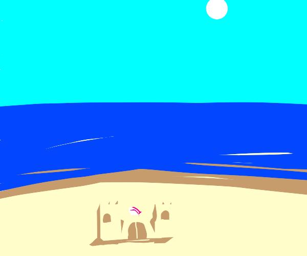 a sandcastle at a beach
