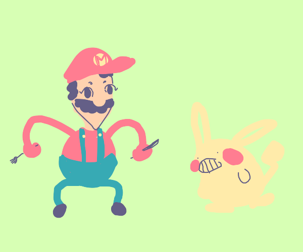 anime mario wants to eat pikachu