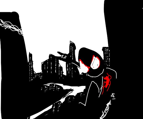 Spider-Man swinging through Manhattan