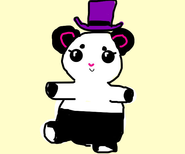 Panda with purple top hat and bead eyes