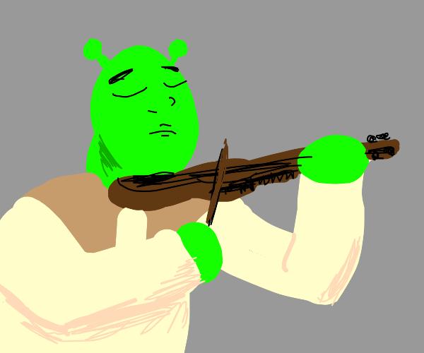 Shrek playing the violin