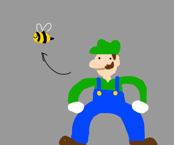 Luigi is transforming into a bee