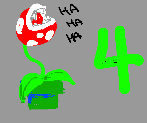 Piranha Plant laughs ar Number 4