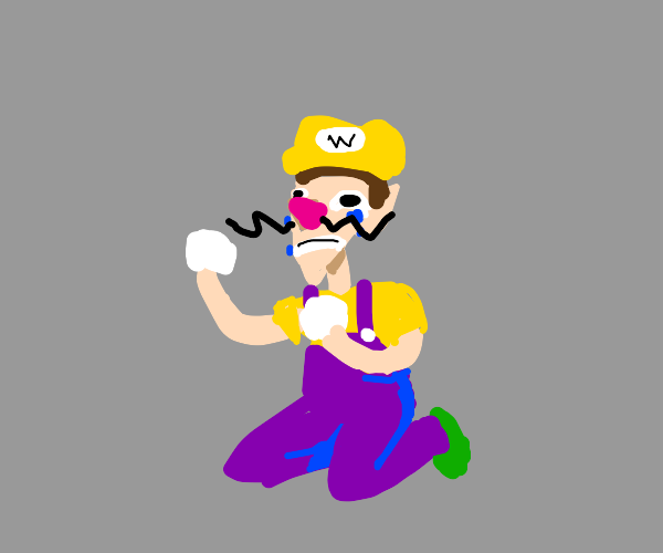 Waluigi wearing Wario's clothes, while crying