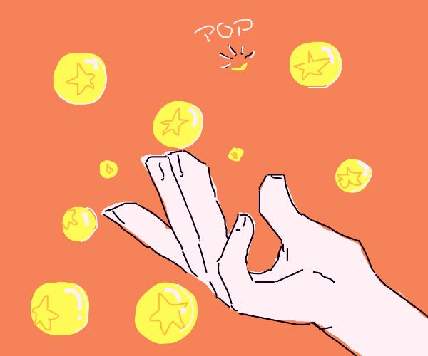 Fingers shooting bubbles