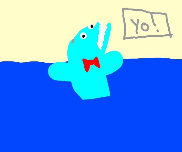 """Dolphin with red bow says """"yo"""""""