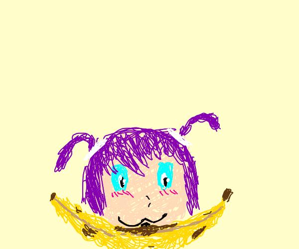 anime girl eats the black spot of a banana
